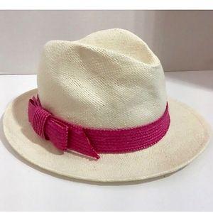 KATE SPADE~hats off~SUMMER FEDORA HAT~White/Pink